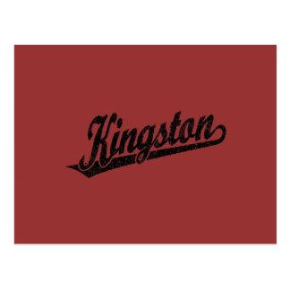 Kingston-Skriptlogo in beunruhigtem Schwarzem Postkarte