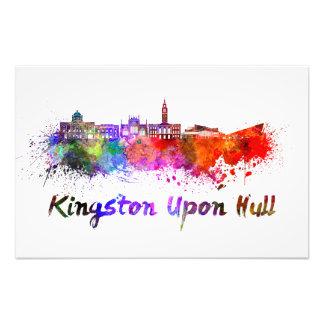 Kingston Upon Hull skyline im Watercolor Photos