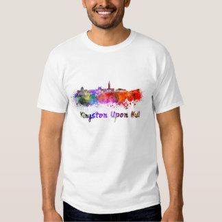 Kingston Upon Hull skyline im Watercolor Tshirts
