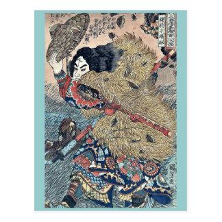 Kinhyoshi Held von Suikoden durch Utagawa, Postkarte