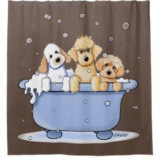 KiniArt Gekritzel-Hunde Duschvorhang