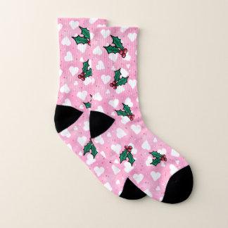 KiniArt rosa Herzen und Stechpalmen-Socken Socken