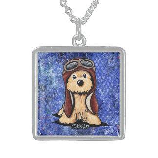 KiniArt Steinhaufen-Terrier-Pilot Sterling Silberkette
