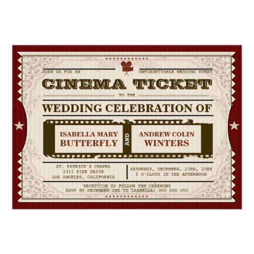 Kino-Karte - Hochzeits-Einladung