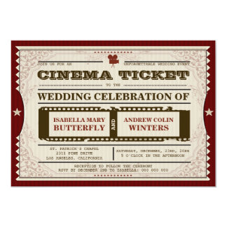 Kino-Karte - Hochzeits-Einladung 12,7 X 17,8 Cm Einladungskarte