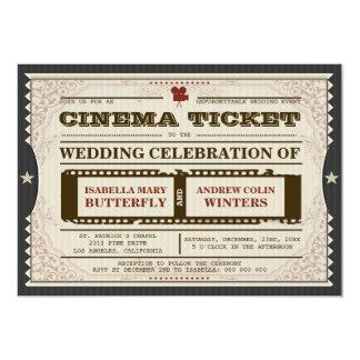 Kino-Karte - Hochzeits-Einladung auf Grau 12,7 X 17,8 Cm Einladungskarte