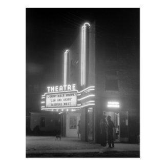 Kino nachts, Vierzigerjahre Greensboros, Georgia Postkarte