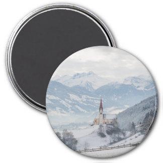 Kirche in Zillertal im runden Magneten des Winters Runder Magnet 7,6 Cm