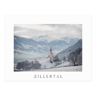 Kirche in Zillertal in der weißen Textpostkarte Postkarte