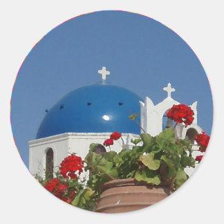 Kirchen-Ansichten über Santorini, Griechenland Runder Aufkleber