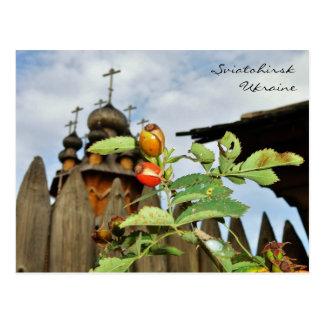 Kirchen-Hauben und Hagebutten in Ukraine Postkarte
