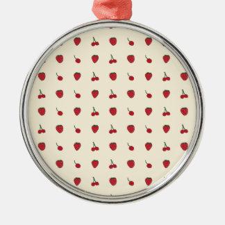 Kirsch-u. Erdbeermuster Silbernes Ornament