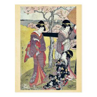 Kirschbetrachtung bei Gotenyama durch Kitagawa, Postkarte