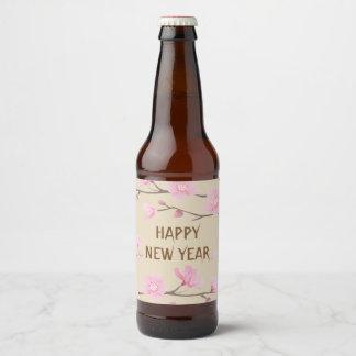Kirschblüte - guten Rutsch ins Neue Jahr Bierflaschenetikett