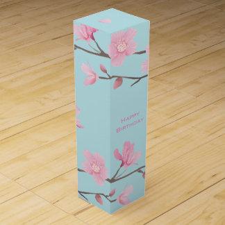 Kirschblüte - Himmel-Blau - alles Gute zum Weinbox