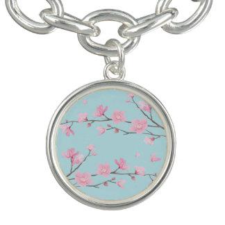 Kirschblüte - Himmel-Blau Charm Armband