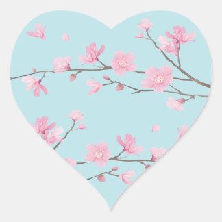 Kirschblüte - Himmel-Blau Herz-Aufkleber