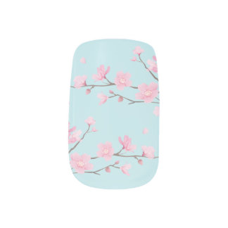 Kirschblüte - Himmel-Blau Minx Nagelkunst