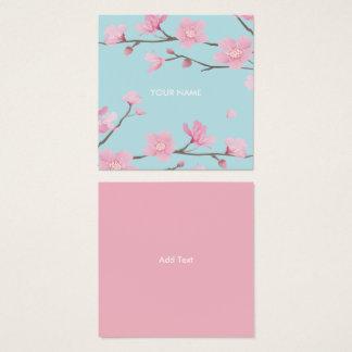 Kirschblüte - Himmel-Blau Quadratische Visitenkarte