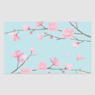 Kirschblüte - Himmel-Blau Rechteckiger Aufkleber