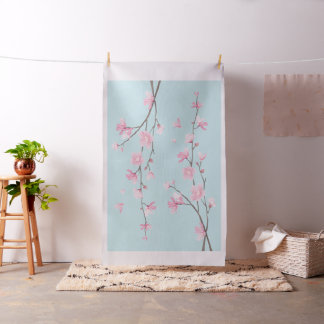 Kirschblüte - Himmel-Blau Stoff