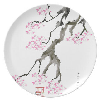 Kirschblüte mit rosa Goldfisch, tony fernandes Teller