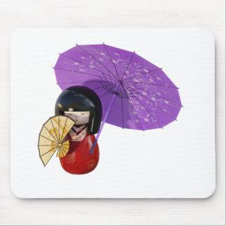 Kirschblüte-Puppe mit Regenschirm Mousepad