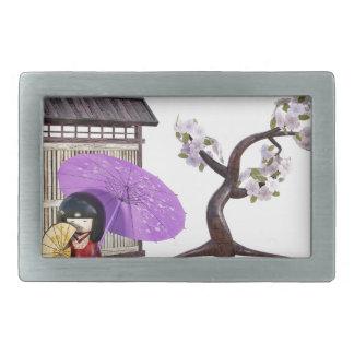 Kirschblüte-Puppe mit Wand und Kirschbaum Rechteckige Gürtelschnalle