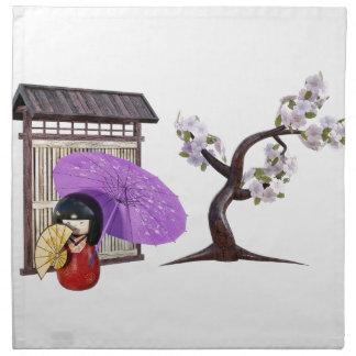 Kirschblüte-Puppe mit Wand und Kirschbaum Serviette