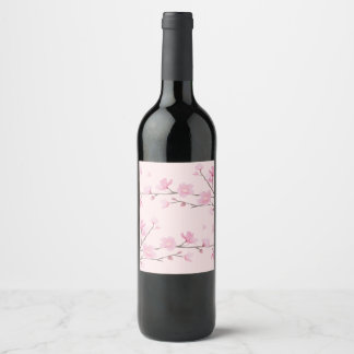 Kirschblüte - Rosa Weinetikett