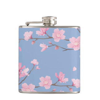 Kirschblüte - Ruhe-Blau Flachmann