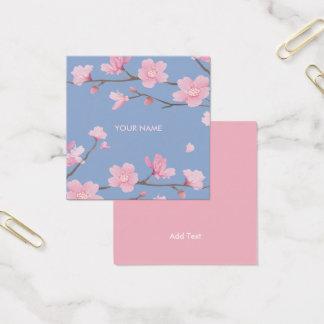 Kirschblüte - Ruhe-Blau Quadratische Visitenkarte
