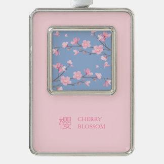 Kirschblüte - Ruhe-Blau Rahmen-Ornament Silber