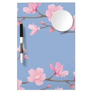 Kirschblüte - Ruhe-Blau Trockenlöschtafel Mit Spiegel