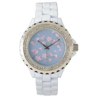 Kirschblüte - Ruhe-Blau Uhr
