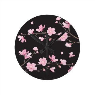 Kirschblüte - Schwarzes Runde Wanduhr