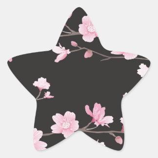 Kirschblüte - Schwarzes Stern-Aufkleber