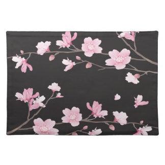 Kirschblüte - Schwarzes Stofftischset
