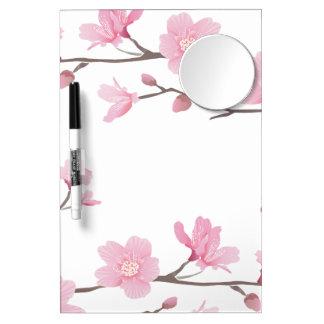 Kirschblüte - transparenter Hintergrund Trockenlöschtafel Mit Spiegel