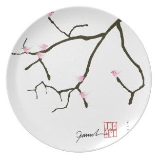 Kirschblüte und 7 rosa Vögel 2, tony fernandes Teller