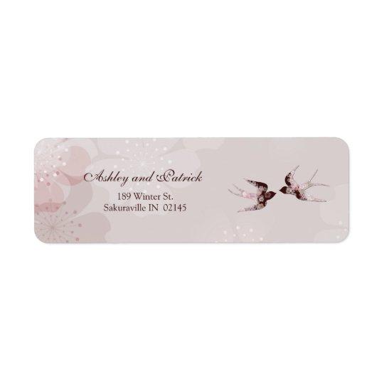 Kirschblüte und Blumenschwalben-Adressen-Etikett