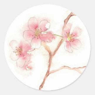 Kirschblüten-Aquarell-Aufkleber Runder Aufkleber