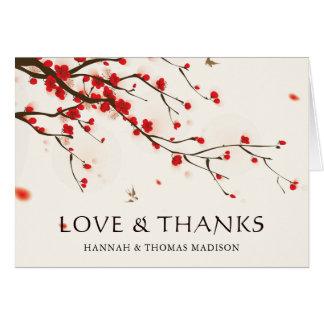 Kirschblüten-Aquarell-Hochzeit danken Ihnen Karte