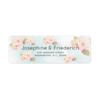Kirschblüten-Aquarell-Hochzeits-Adressen-Etikett