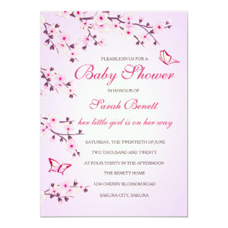 Kirschblüten-Babyparty Karte