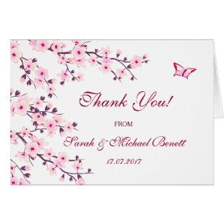 Kirschblüten-Blumenhochzeit danken Ihnen Karte