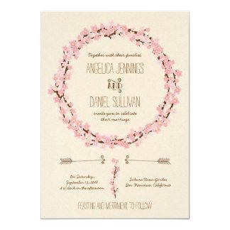 Kirschblüten-BlumenKranz-Frühlings-Hochzeit 12,7 X 17,8 Cm Einladungskarte