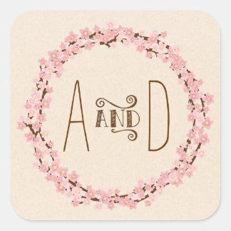 Kirschblüten-Blumewreath-rustikale Hochzeit Quadrat-Aufkleber