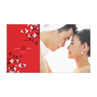 Kirschblüten-doppelte Glück-Hochzeits-Foto-Kunst Leinwanddruck