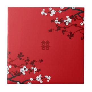 Kirschblüten-doppeltes Glück-chinesische Hochzeit Fliese